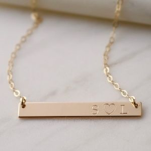 Jewelry - 14K Gold Filled Engraved Horizontal Bar Necklace